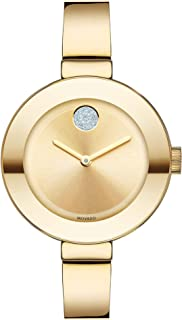 Women's BOLD Bangles Yellow Gold Watch with a Flat Dot...