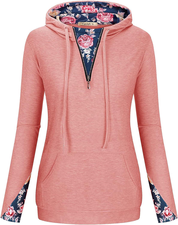 Womens Long Sleeve Color Block Hoodies Floral Casual Sweatshirt Zip Pullover