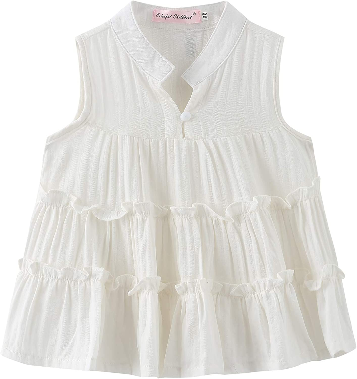 Colorful Childhood Girls Ruffles Blouse Casual OFFicial L Girl Shirts Selling Tee