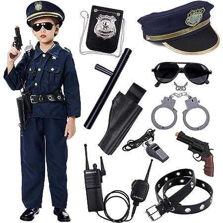 Policía Disfraz Niño con Policía Equipo Policía Camisa Pantalones Sombrero Cinturón Policía Placa Esposas Gafas de Sol Walkie Talkie Policía Juguete Kit para Niños Halloween Fiesta Carnaval (S)