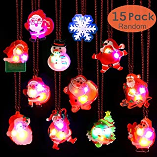 Christmas LED Light Necklace 15PCS Christmas Party Favors Light Up Flashing Necklaces Decoration for Kids Party Gift Bag Filler Bulk
