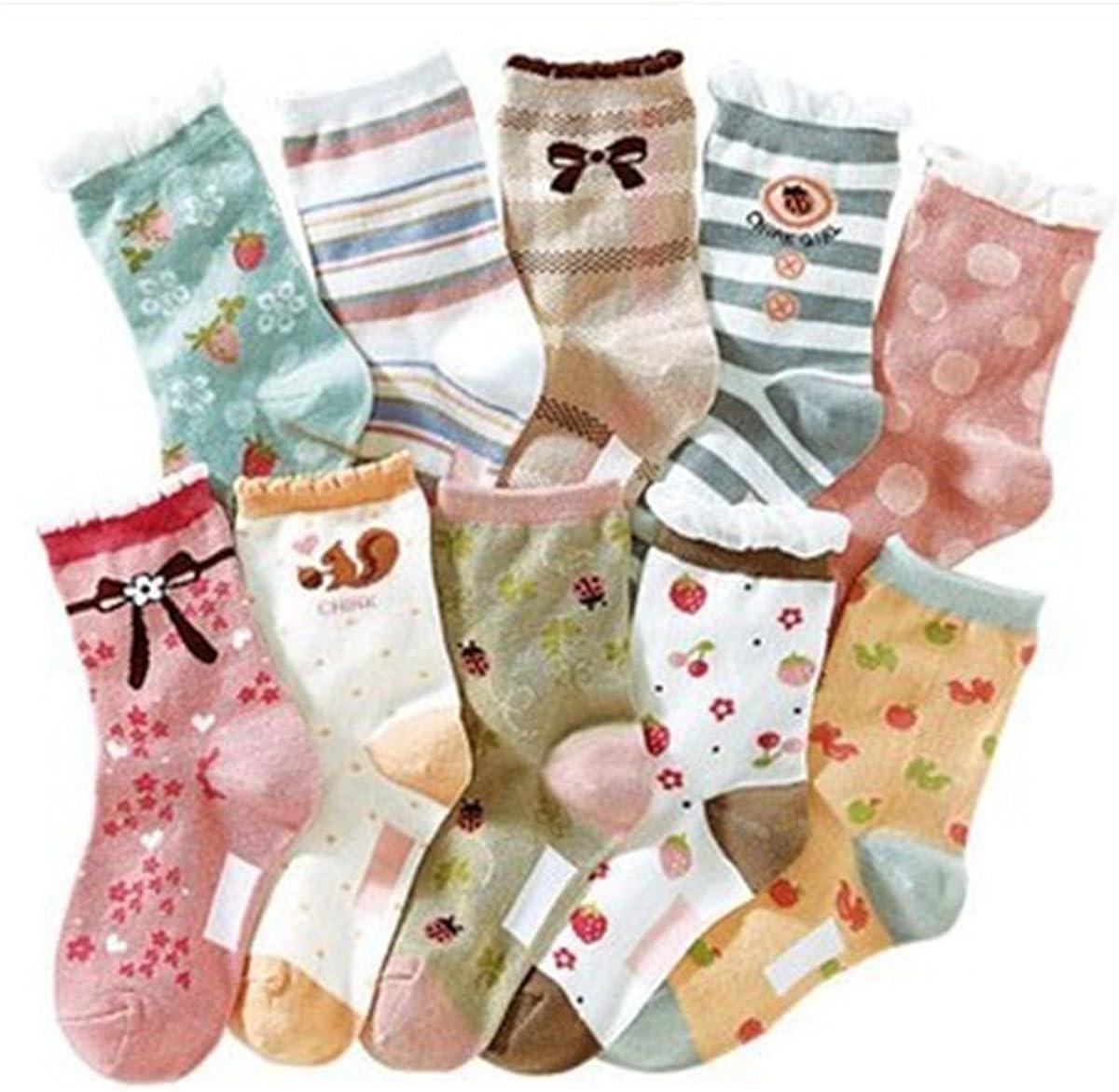 Girls Short Socks Fashion Strawberry Cotton Basic Crew Kids Socks 10 Pair Pack