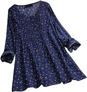 Women Casual Flower Print O-Neck Tunic Tops Button Long Sleeve Linen Top Plus Size Loose Blouse 5 XL T-Shirt