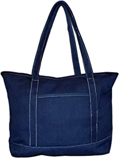 Rugged Heavy Duty Large 24 oz Cotton Canvas Zipper Top Tote Shopper Boat Bag - Custom Available (Solid Navy)