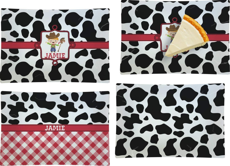 Cowprint w Cowboy Set of Wholesale 4 P Rectangular Glass Appetizer Dessert Very popular