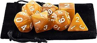 Kit 7 Dados RPG de Mesa D&D Opaco Perolado D4 D6 D8 D10 D10% D12 D20 Cor DOURADO + 1 Bolsa