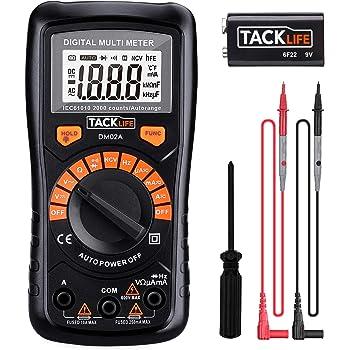 Automatisch Digital Multimeter Tacklife DM02A, mit Berührungslose Spannungserkennung, beleuchtetem LCD-Display, Spannungs-, Strom- und Durchgangsprüfung, für Zuhause, Schule [Energieeffizienzklasse A]