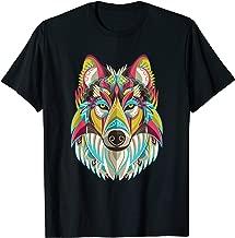 Wolf Shirt Native American Geometrical Art Colorful T-Shirt