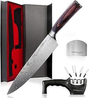 Salqinos Kochmesser Küchenmesser 20cm 7cr17mov Profi Messer aus hochwertigem Carbon Edelstahl mit Messerschäfer 3 Stufen und Fingerschutz in Geschenkbox