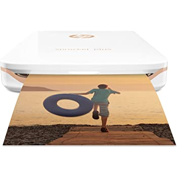 HP Sprocket Plus, Stampante fotografica portatile, Bluetooth 4.0, Foto Istantanea Adesiva 5.8 x 8.6 cm, Carta Fotografica HP Zink, Compatibile con Android e iOS tramite App HP Sprocket, Bianco