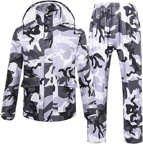 RFJJAL Ensemble imperméable Hommes Femmes imperméable Veste Costume Pantalon Manteau Coupe-Vent Pantalon Ensemble Costume de vêteHommests de Pluie Moto avec Cache Camouflage Capuche (Taille   M)