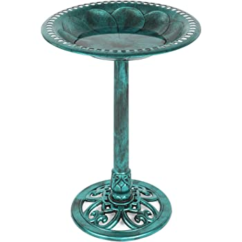 Best Choice Products Vintage Outdoor Resin Pedestal Bird Bath Accent Decoration w/Fleur-de-Lis Accents - Green