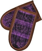 Hide & Drink 皮革& Tipico 棉热手柄夹(铸铁手柄锅垫)麂皮内部烹饪烘焙 2 件装 热带紫色手工制作