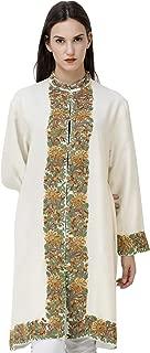 Exotic India Banana-Cream Long Kashmiri Jacket with Hand-Embroidered Flowers
