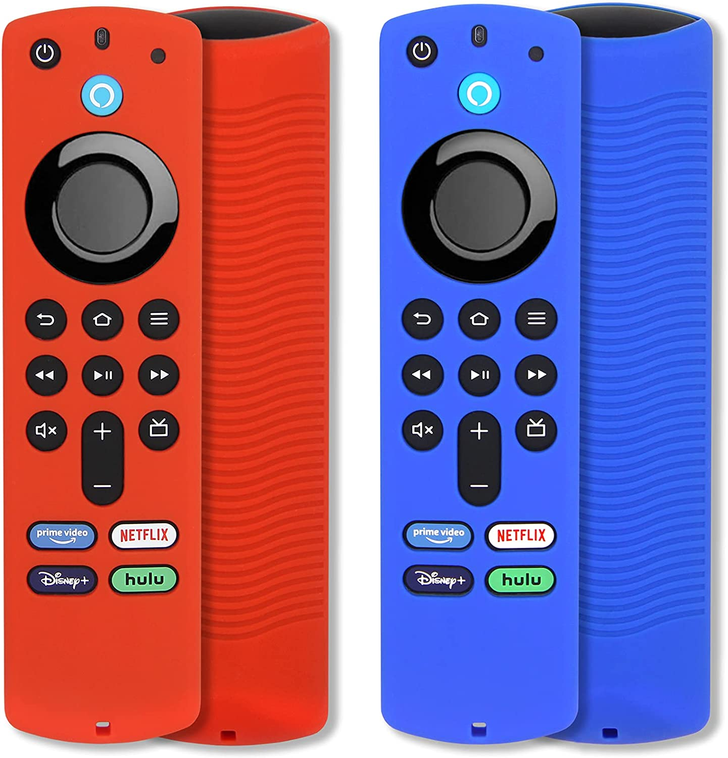 [2 Pack] Pinowu Fire Remote Cover Compatible with TV Stick (3rd Gen) Voice Remote, Anti Slip Silicone Protective Case Cover with Lanyard for Firetv Stick (2021) (Red & Blue)
