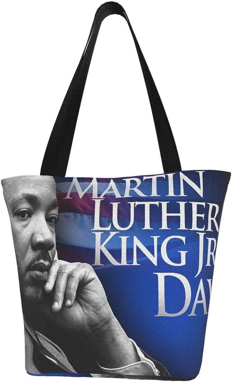 Usa Martin Luther King Day Themed Printed Women Canvas Handbag Zipper Shoulder Bag Work Booksbag Tote Purse Leisure Hobo Bag For Shopping