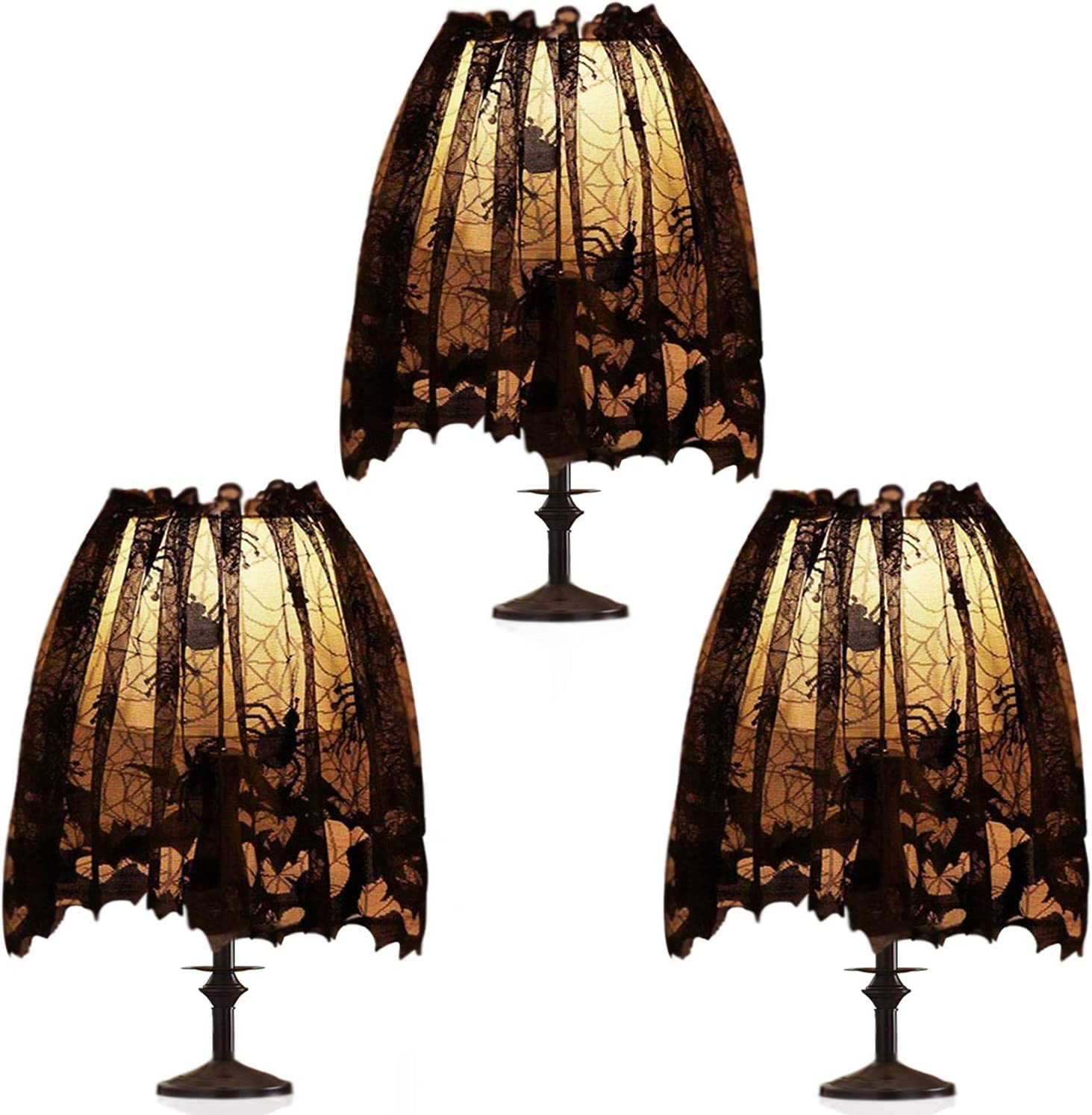 Max 89% OFF 3Pcs Halloween Lamp Shade Cover Ribbon Discount mail order Black Sp Lace Decoration