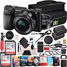 Sony Alpha a6000 Mirrorless Digital Camera with 16-50mm Lens Bundle with 2X 64GB Memory Card, Photo and Video Professional Editing Suite, 40.5mm Filter Set, Battery and Accessories (4 Items)