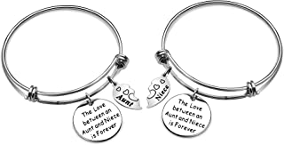 2 PCS Charm Bracelet Set Expandable Bangle Bracelets for Women Teen Girls Aunt Niece Birthday Christmas Jewellery Gifts Silver