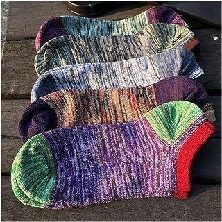 QWERBAM, QWERBAM Los Hombres de algodón Calcetines de los Hombres de la Fruta Macho Tobillo Happy Socks Chica Chico Barco Calcetines Invisibles (Color : Purple, Size : 5 Pairs)