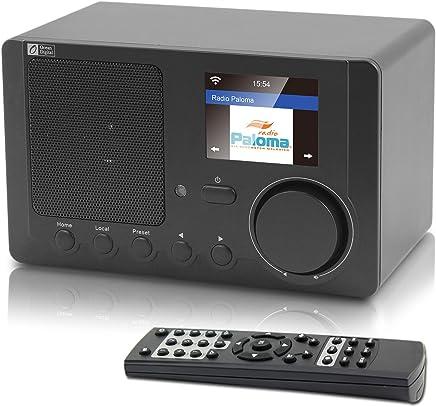 """Ocean Digital WiFi Internet Radio WR210CB Radio Sintonizzatore con Ricevitore Bluetooth, 26,000 Stazione, UPnP/DLNA, Aux In da 3.5 mm, LCD da 2.4"""" e Telecomando Radiosveglia da Comodino en Legno"""
