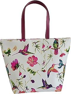 Bird Design Women's Tapestry Shoulder Tote Handbag with Owl Ladybird and Hummingbird