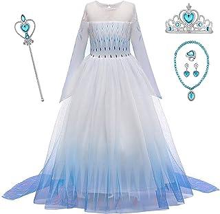 O.AMBW Vestido de Princesa con Capa Larga Falda Azul Violeta Disfraz de Frozen Cosplay de Princesa Disfraces de Carnaval con 5 Juegos de Accesorios Fiesta Halloween para Niñas de 2 a 12 años