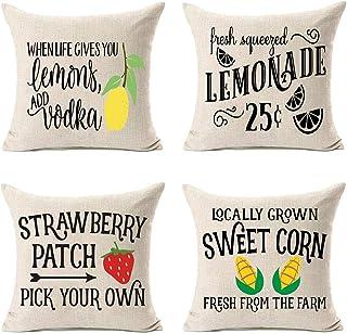 MFGNEH Set of 4 Summer Decor Farmhouse Pillow Covers 18x18 Inches Lemon Strawberry Corn Home Decorative Cotton Linen Summer Throw Pillows,Lemon Decor
