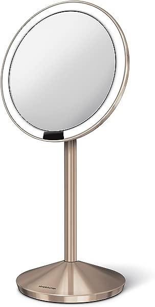 Simplehuman 镜 10X 放大与月厘米传感器玫瑰金化妆镜 ST3010