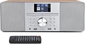LEMEGA MSY1P All-in-One Music System,CD Player,FM Digital Radio,Bluetooth Speaker,20W Stereo Sound,Wooden Box,USB MP3,USB Charger,Headphone-Out,Aux-in,Alarms and Clock,Colour Display - Walnut Finish