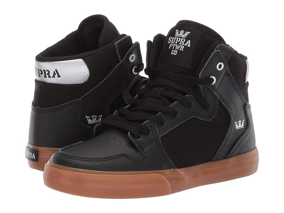 Supra Kids Vaider (Little Kid/Big Kid) (Black/Silver/Gum) Boys Shoes