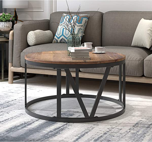 Round Coffee Table 31 5 Rustic Coffee Table For Living Room Industrial Wood Coffee Table With Roman Numerically Shaped Metal Legs 31 5