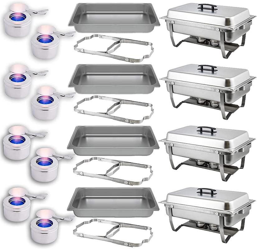 Chafing Dish Buffet Set Folding Frame Water Pan Food Pan 8 Qt 2 Fuel Holders 4 Full Warmer Kit