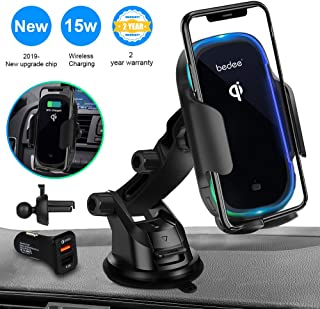 Wireless Car Charger Mount, Automatic Clamping Qi 15W Fast Charging Car Mount, Windshield Dashboard Air Vent Phone Holder Compatible with iPhone Xs/Xs Max/XR/X/ 8/8 Plus, Samsung S10 S9 S8 Note 9