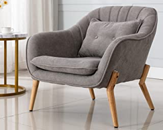 CIMOTA Grey Accent Chair, Upholstered Mid Century Modern Armchair Fabric Reading Chair Comfy Living Room Chair with Pillo...