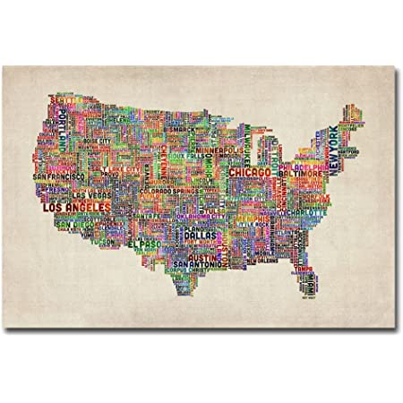 Amazon Com Us Cities Text Map Ii By Michael Tompsett 16x24 Inch Canvas Wall Art Prints Posters Prints