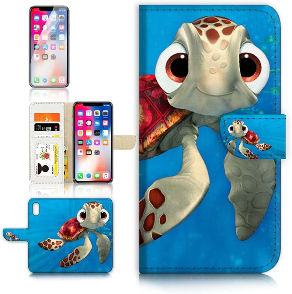 (for iPhone Xs MAX) Flip Wallet Case Cover & Screen Protector Bundle - A21273 Cartoon Turtle