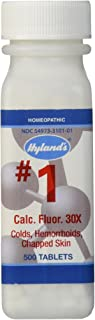 Hemorrhoid Treatment, Homeopathic Relief of Hemorroids, Colds, and Chapped Lips, Hyland's #1 Cell Salt Calc Fluor 6X, 500 Count