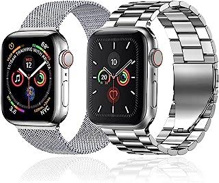 baklon 2 piezas compatibles con correa de reloj Apple 44mm 42mm 40 mm 38 mm, correa deportiva de acero inoxidable de repue...