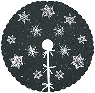 Simhomsen Christmas Holiday Embroidered Snowflakes Tree Skirt, Used for 4 to 6 Feet Tree (Dark Grey, Round 34 Inches)