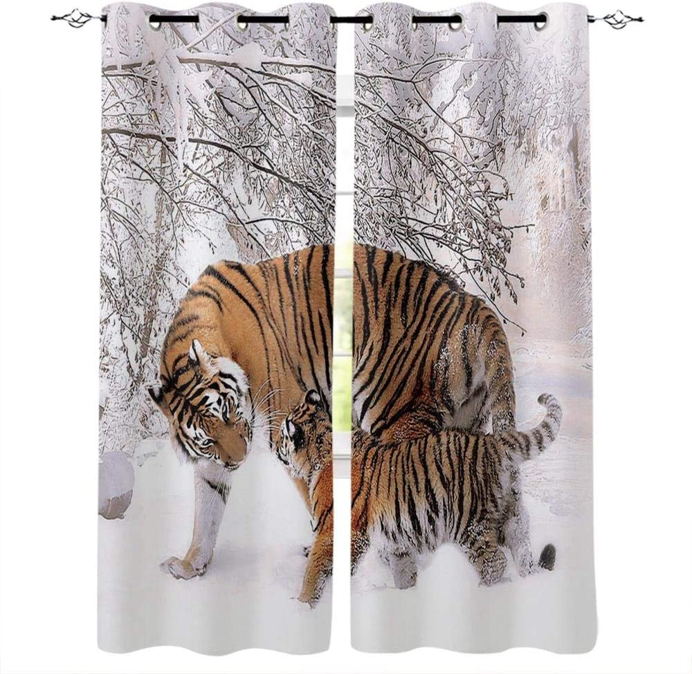 Zzmdmn Tiger Walking in The Snow for Livi Curtains Regular discount Winter Department store Modern