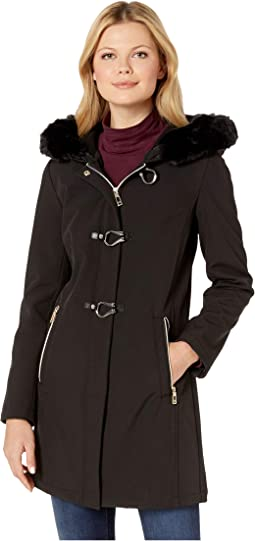 Softshell Jacket with Toggle Closures and Fur Hood