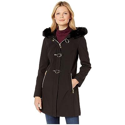 Ivanka Trump Softshell Jacket with Toggle Closures and Fur Hood (Black) Women