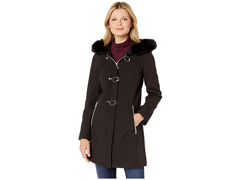 Ivanka Trump Softshell Jacket with Toggle Closures and Fur Hood (Black) Women