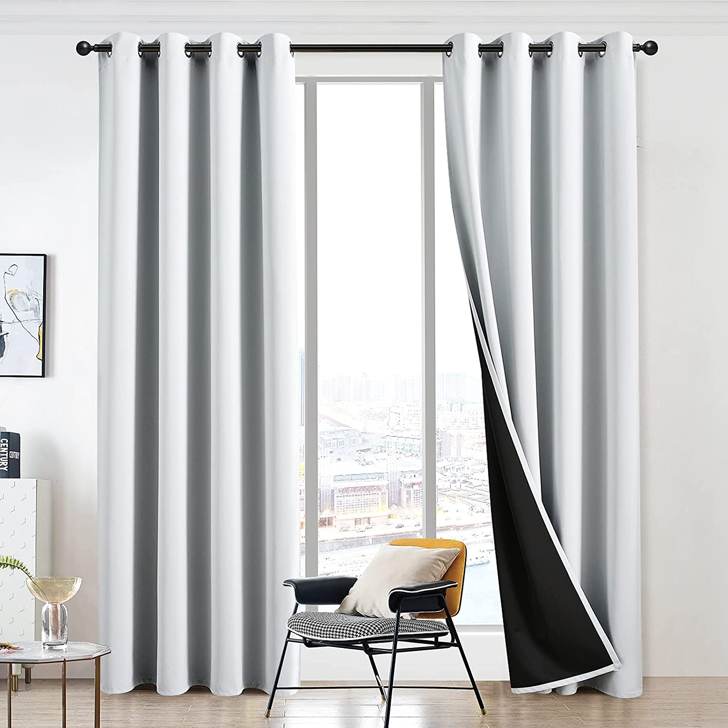 Mail order cheap JSFLY 100% Blackout Curtains 63 inch Easy-to-use for Bedroom Length N Thick