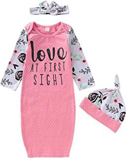 Dramiposs Newborn Girls Isn't She Lovely Floral Nightgowns Long Sleeve Outfits with Hat and Headband