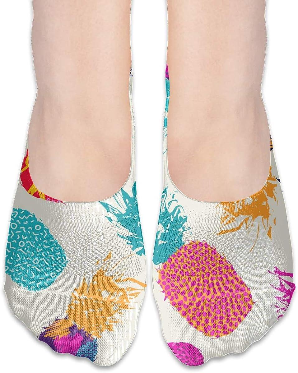 No Show Socks Women Men For Retro Summer Pineapple Fruit Flats Cotton Ultra Low Cut Liner Socks Non Slip