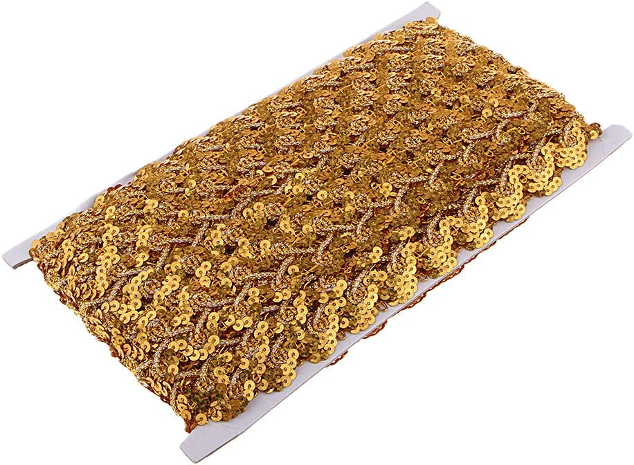 Gold chiwanji 14Yards Metallic Sequin Braided Trim for DIY Upholstery Curtain Bag Cushion Dress Costume Sewing Edging Decoration Trimmings 30mm 13m