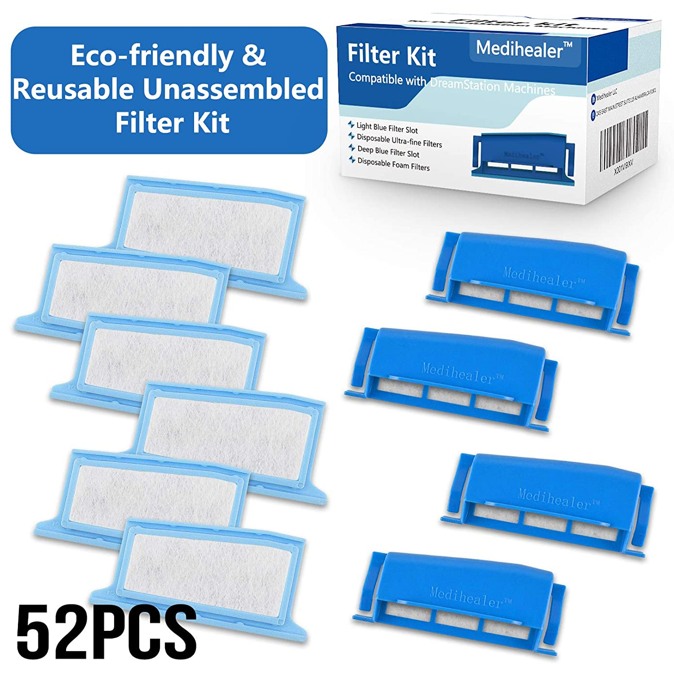 CPAP Filters Fit Respironics Dreamstation 52 Packs:26 Foam+26 Ultra-fine-Assembly Filter into Reusable Frame Kit-Pollen & Hypoallergenic Fit Philips Respironics Dreamstation, Replacement Supplies