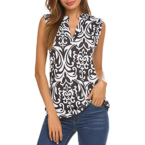 510455ff805b9 Halife Women s Sleeveless Floral Print V Neck Henley Tank Tops Blouse Shirts  Tunic